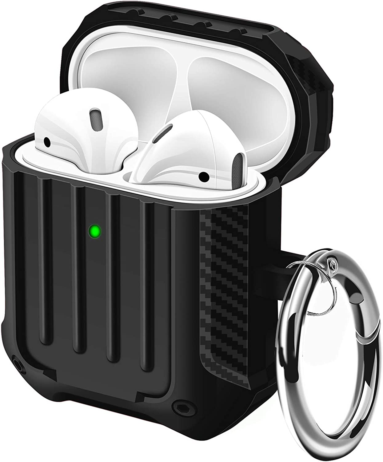 Maxjoy Airpods Case Carbon Fiber Texture TPU Gel Case Dustproof Protective Case Cover for Apple Airpods 2 with Keychain Full-Body Rugged Shockproof Airpods Wireless Charging Case (Black)