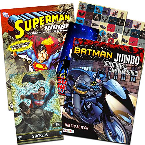 Bendon Publishing DC Comics Batman & Superman Coloring and Activity Book Set - Two 96 -Page Coloring Books, Stickers and Superhero Door Hanger -