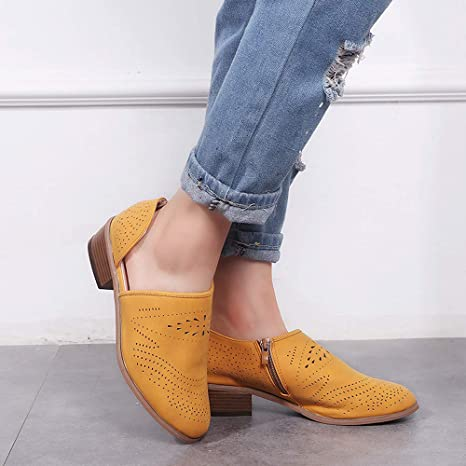 Women Vintage Chunky Low Heels Thick Heel Short Boot Ankle Booties Hollow Shoes at Amazon Womens Clothing store: