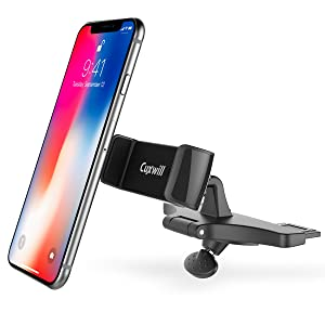 CD Slot Car Mount, Cuxwill Universal CD-Slot Car Phone Holder with One Hand Operation Design for iPhone X/8/7/6/6S/ and Other Smartphones