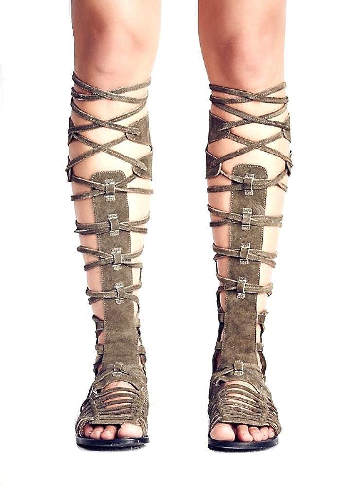 3de22f6bb49 FREE PEOPLE Sunseeker Suede Gladiator Sandals 8 Olive  Amazon.ca  Shoes    Handbags