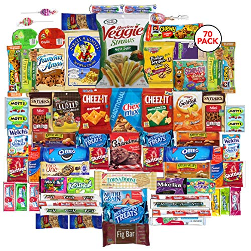 - The Snack Bar - Snack Care Package (70 count) - Variety Assortment with American Candy, Fruit Snacks, Granola Bars, Chips, and More, Gift Snack Box for Lunches, Office, College Students, Final Exams,
