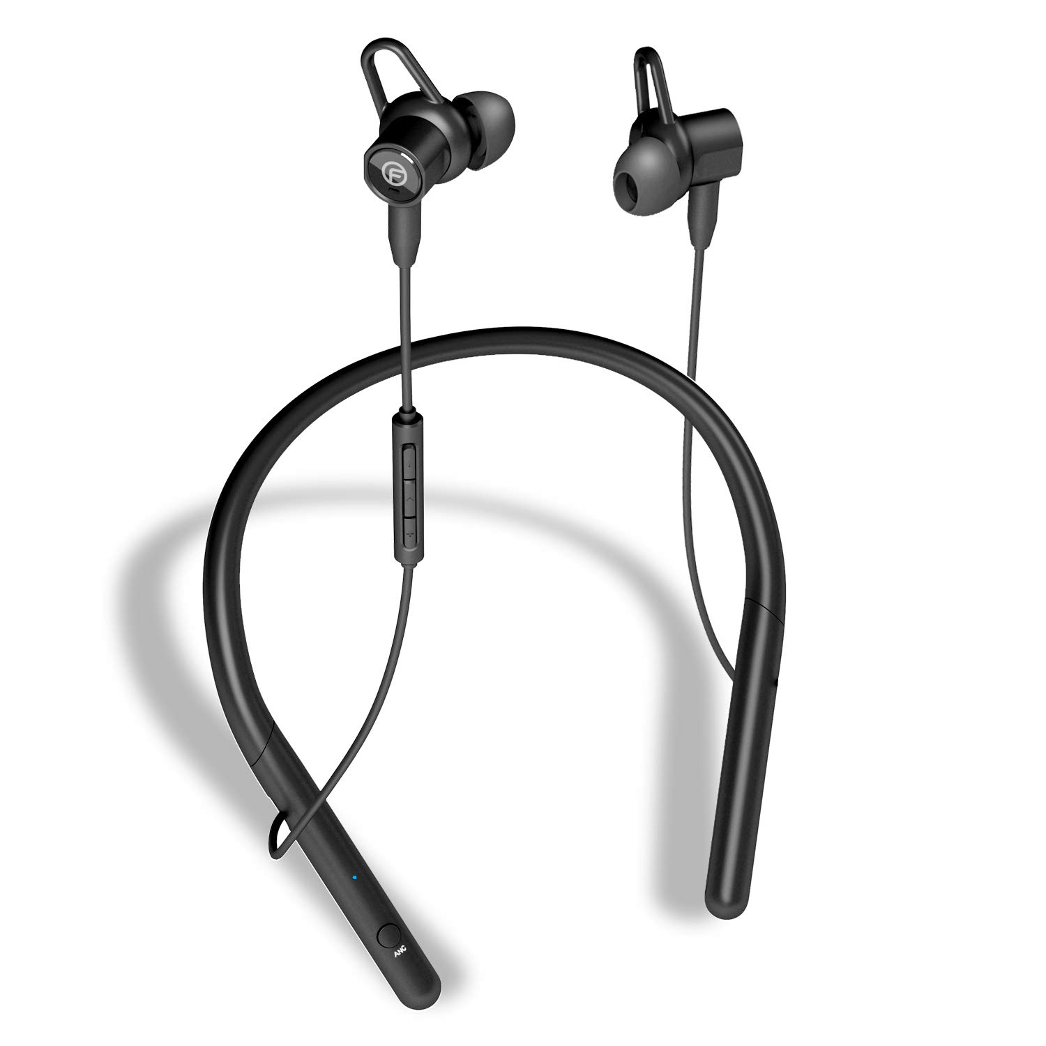 FUSOW Active Noise Cancelling Bluetooth Headphones, wireless neckband headphones, HIFI stereo in-ear sports earphone with microphone,IPX7 Waterproof 18 hours play time,with Magnetic