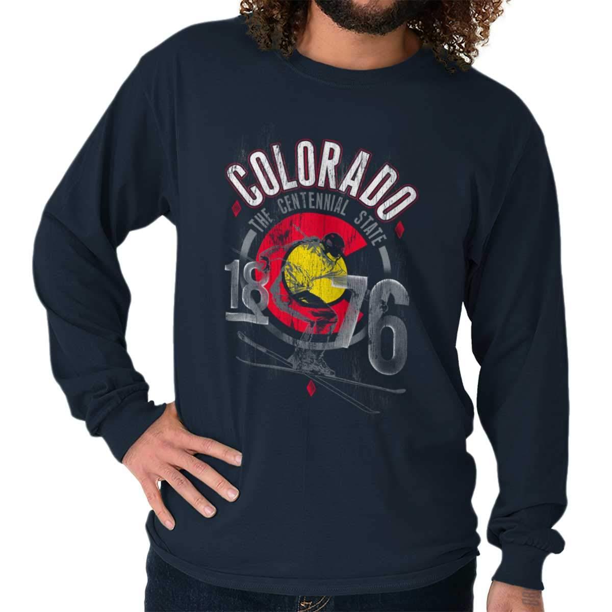Colorado Centennial State Flag Ski Souvenir T Shirt 6142