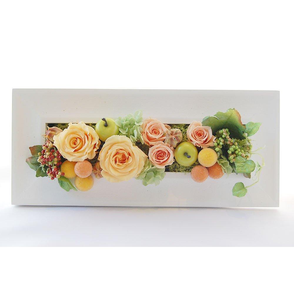 パラボッセオリジナル 壁掛け プリザーブドフラワー レクタングル オレンジ ケース入 横幅33cmx10cmx高さ15cm preserved flowers B00WSKUCSK