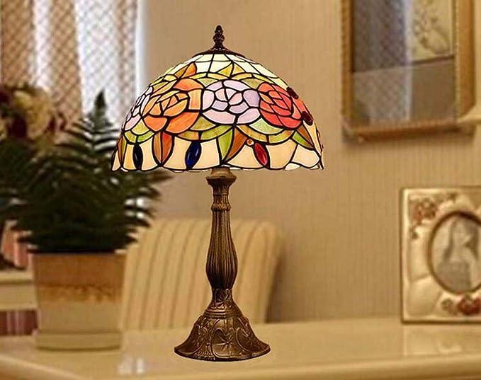 Vintage Tiffany diseñó la lámpara de mesa Peony, de 12 pulgadas ...