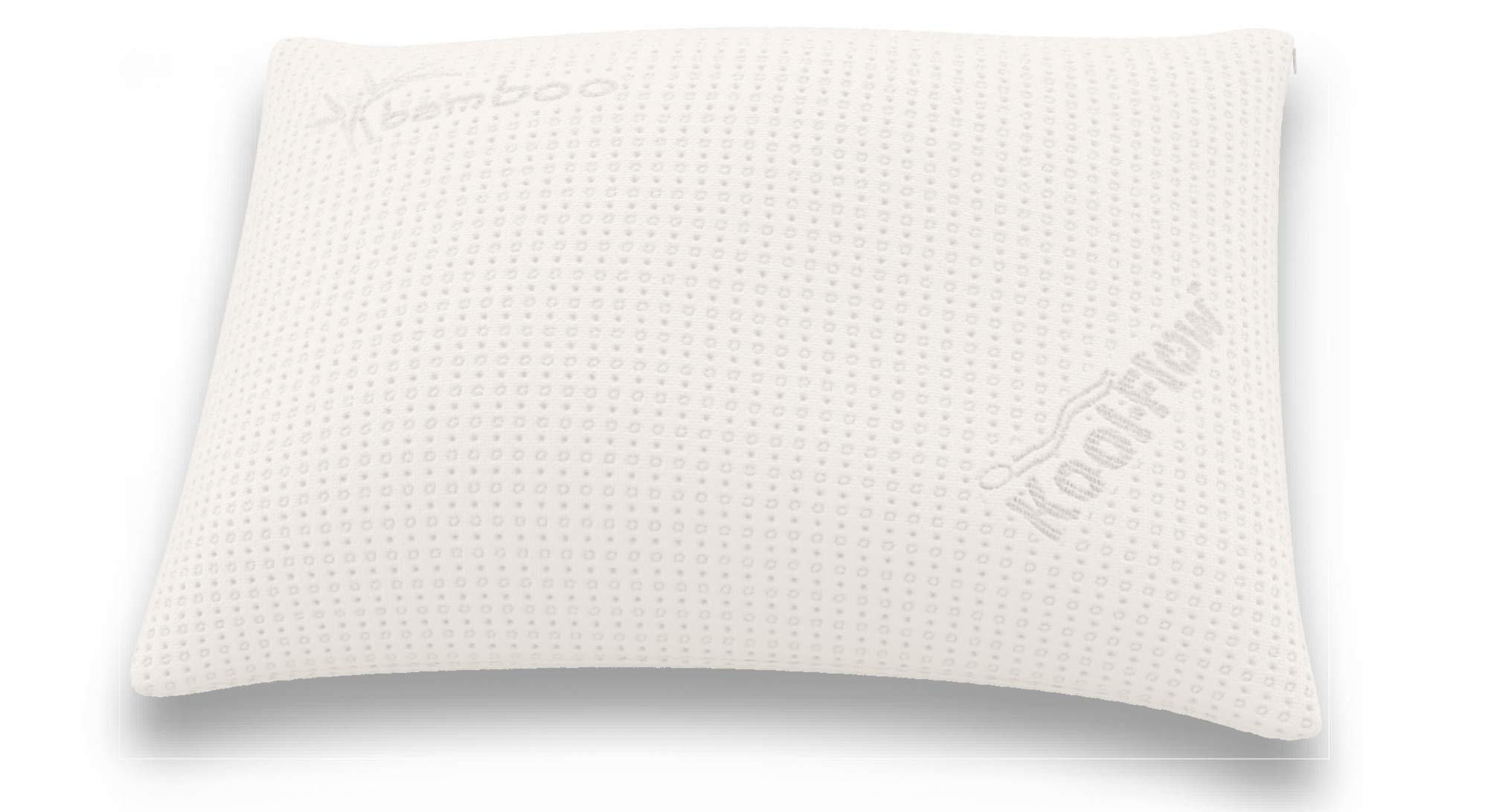 Snuggle-Pedic Supreme Plush Ultra-Luxury Hypoallergenic Bamboo Shredded Gel-Infused Memory Foam Pillow Combination with Adjustable Fit & Zipper Removable Kool-Flow Cooling Pillow Cover (Queen)