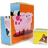 Professor Poplar's Barnyard Animals Stacking Puzzle Blocks, 9 Pieces