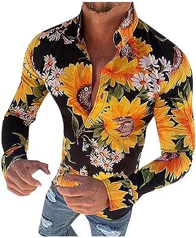 Camisa Estampada para Hombre de Vacaciones Slim fit cómodo Shirt Top de Playa Causal Camisas con Estampado de Flores de Manga Larga Informal para Hombres: Amazon.es: Ropa y accesorios