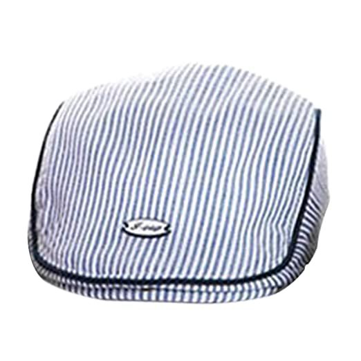 91f33691efb Voberry Baby Boy Kids Toddler Stripes Beret Cabbie Flat Peaked Hat (Blue)