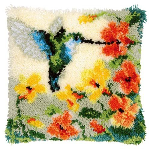 7 Model Latch Hook Kit hummingbird Cushion Cover DIY Craft Needlework Crocheting Cushion Embroidery (Floral Latch Hook)