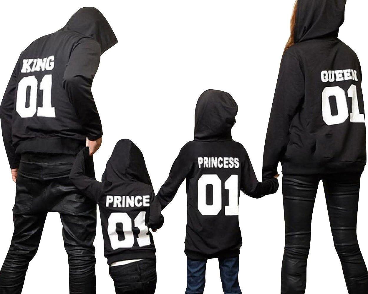 Minetom Hombres Mujeres Niños King Queen Prince PRINCEESS Letra Impreso Sudaderas Tops Mamá Papá Hijo Hija Blusa Pullover Sweatshirt Ropa Familia Negro 130 ...