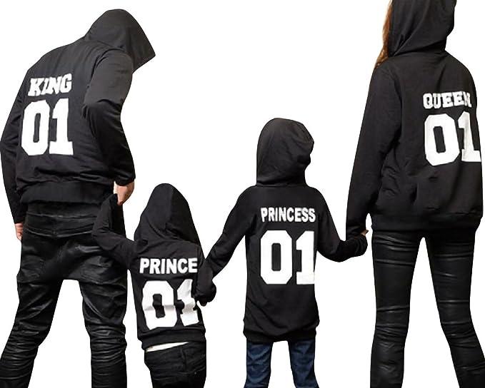 Minetom Hombres Mujeres Niños King Queen Prince PRINCEESS Letra Impreso Sudaderas Tops Mamá Papá Hijo Hija