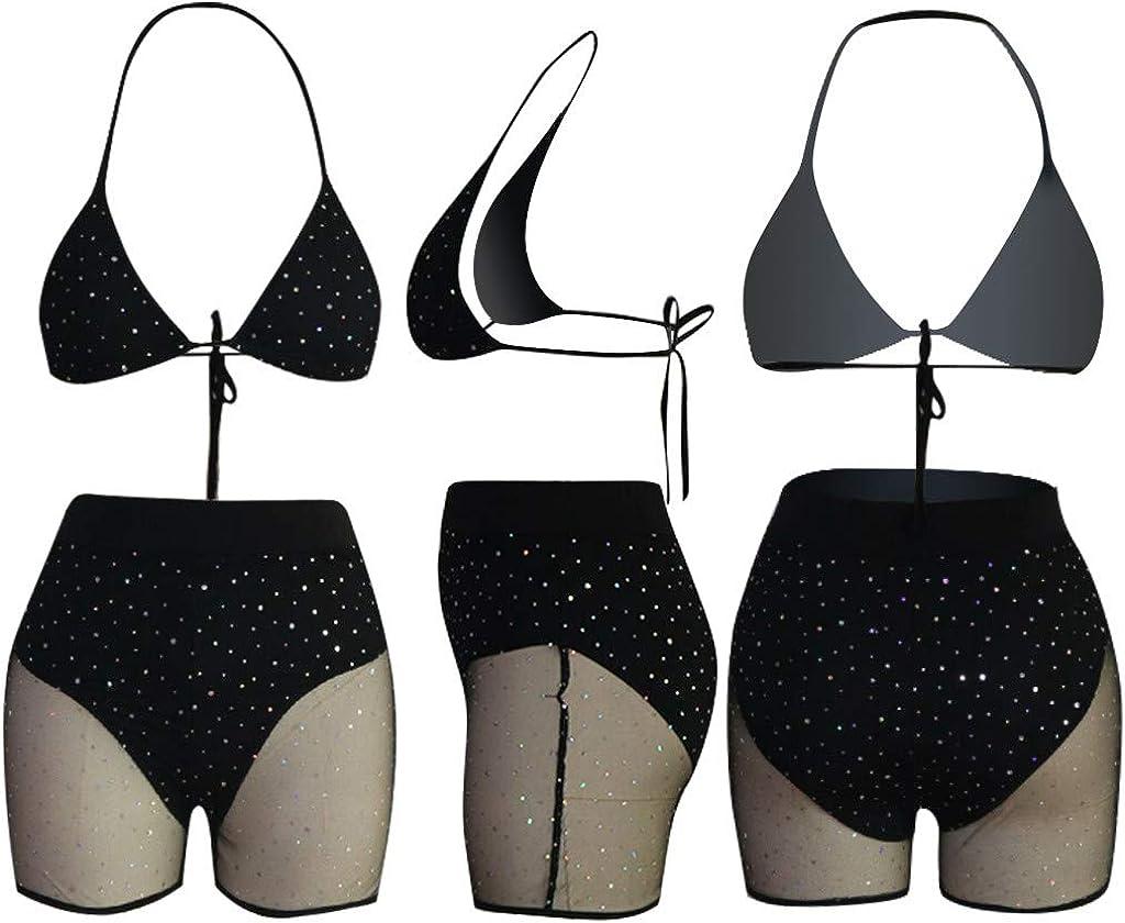 1Set Women Mesh Sequins Fishnet Bikini Bandage Bra Pants Swimwear Beach Fashion