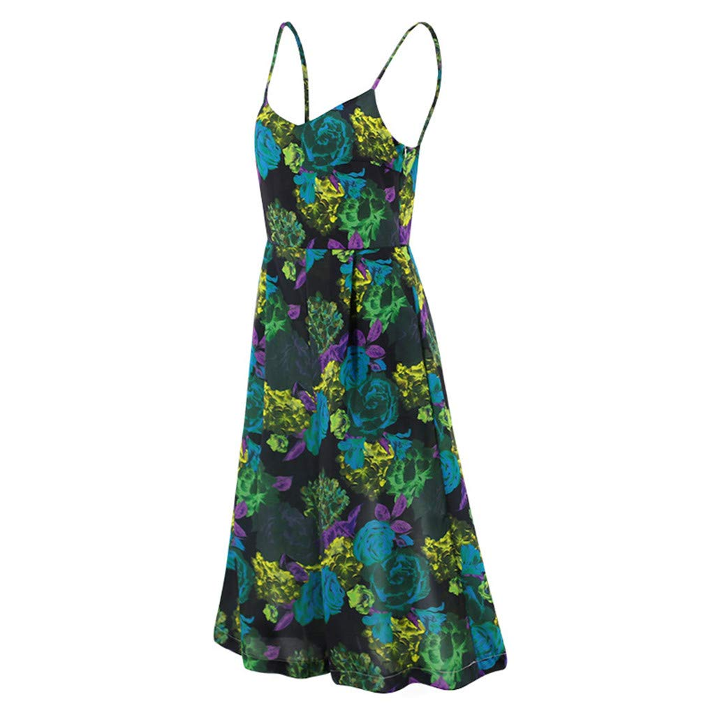 RYGHEWE Womens Jumpsuits Floral Printed Jumpsuit Casual Strapless V-Neck Sleeveless Pockets Loose Playsuit