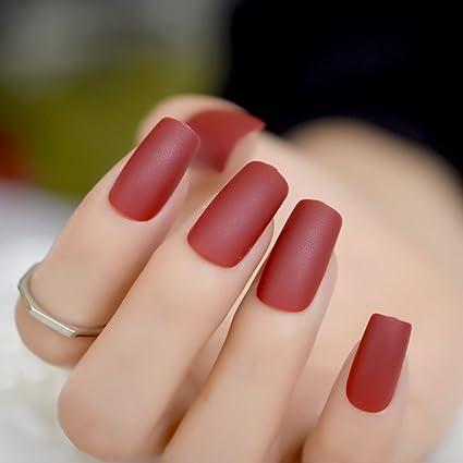 EchiQ - uñas postizas de color rojo vino puro, mate, esmeriladas, para decoración