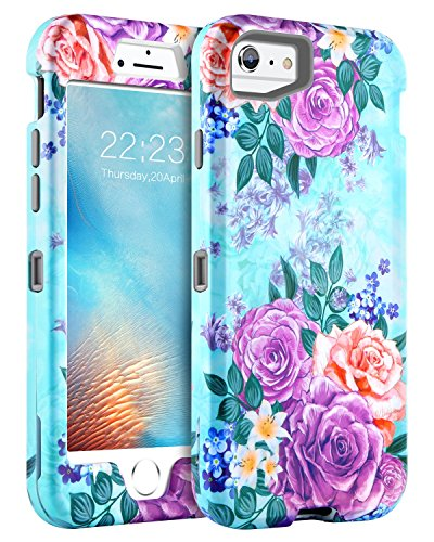 GUAGUA iPhone 6S Case iPhone 6 Case Peonies Floral Hybrid Three Layer Hard PC Soft TPU Bumper Cover Heavy Duty Full Body Shockproof Protective Durable Phone Case for iPhone 6s/6(4.7 (Hybrid Hard Case)
