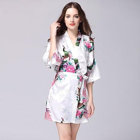 NEIYI Women s Summer Silk Single Nightgown Tracksuit Peacock Gown Sleeve  Woven Silk Pajamas Bathrobes CUIYAN ( 920558a64