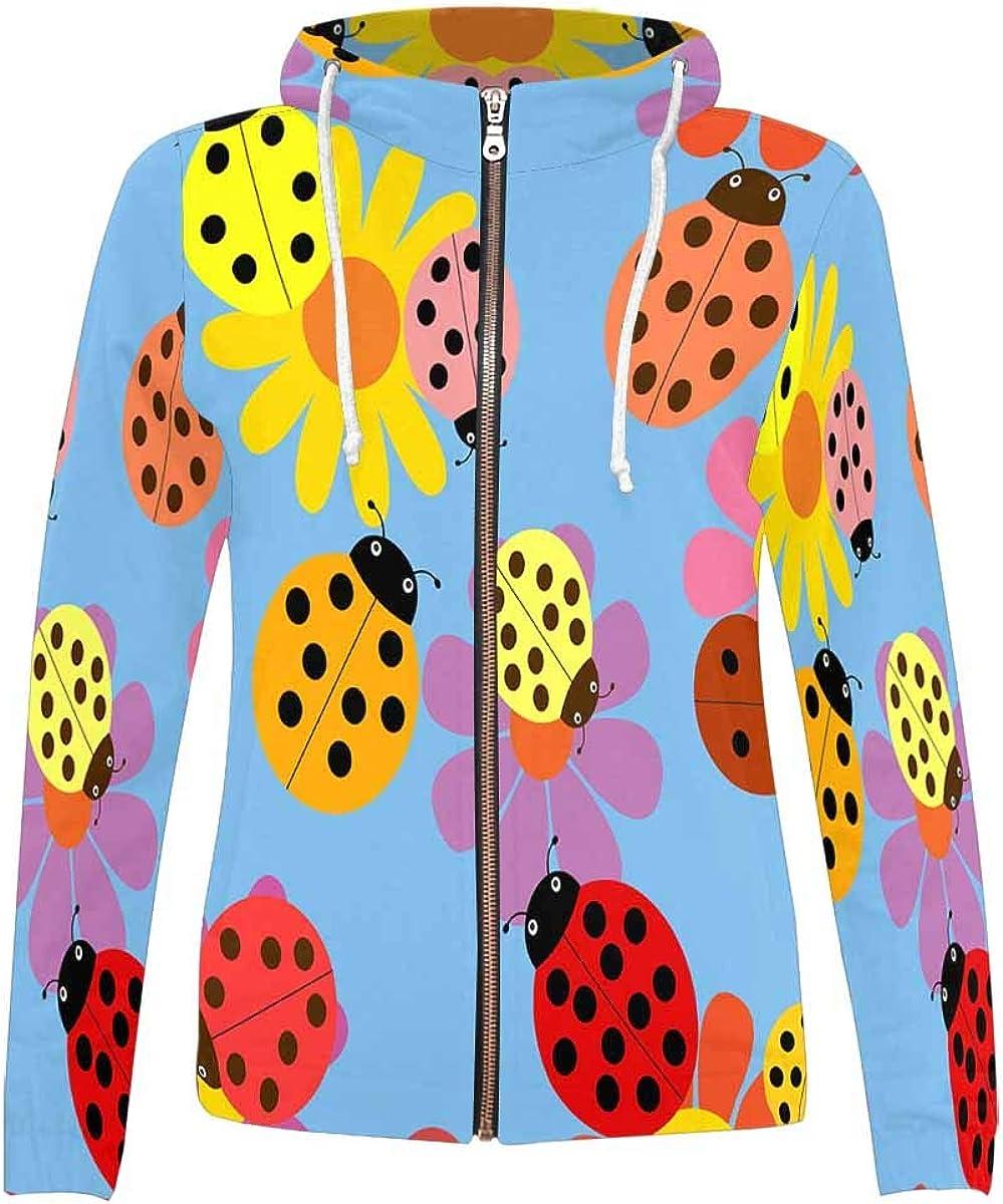 INTERESTPRINT Womens Ladybug Polka Dot Full-Zip Hoodie XS