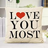 Leyorie Love You MORE Square Pillow Cover Toss
