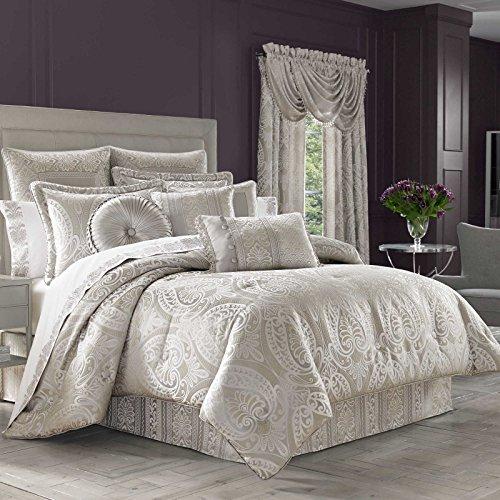 Regency Comforter - J Queen Le Blanc 9 Piece King Comforter Set -Silver Paisley Jacquard