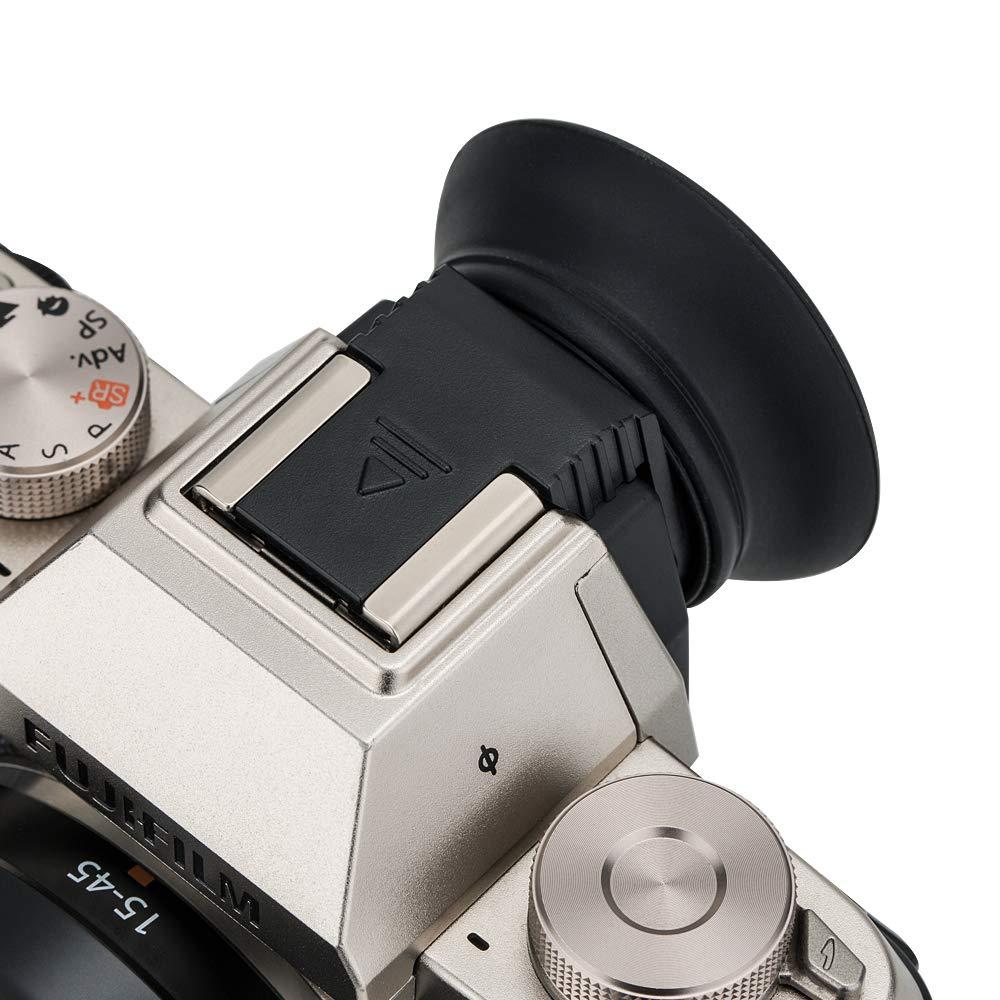 Black Oval Silicone Eyecup Eyepiece Eyeshade for Fuji Fujifilm X-T100 XT100 Viewfinder Installed via Hot Shoe
