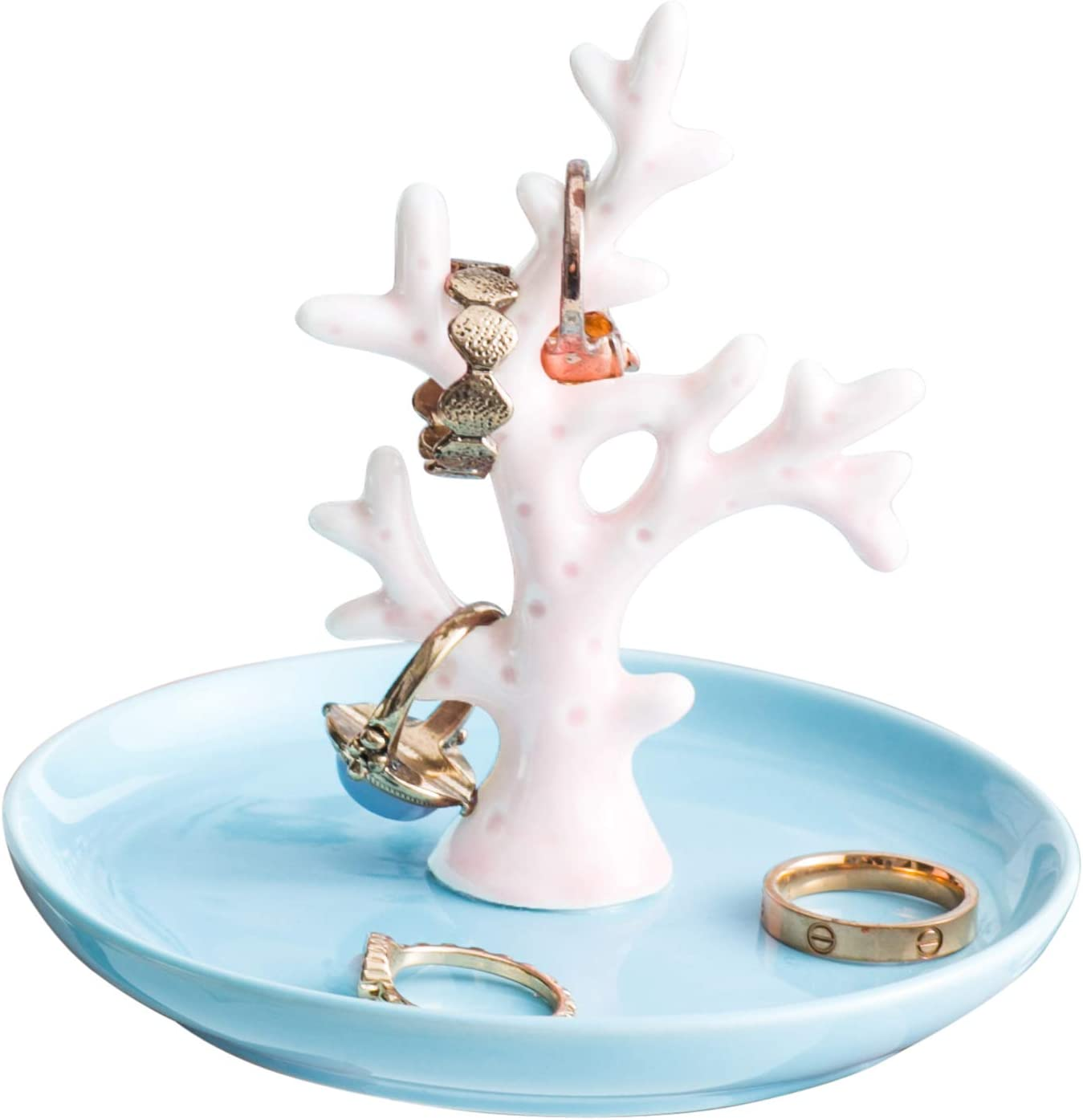 Jojuno Ceramic Coral Tree Ring Holder Dish Jewelry Pate Decor Dish Jewel Display Organizer Trinket Tray