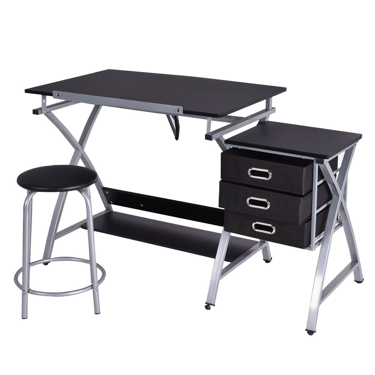 Amazon.com: Tangkula Drafting Table Art U0026 Craft Drawing Desk Art Hobby  Folding Adjustable W/ Stool (Black): Arts, Crafts U0026 Sewing