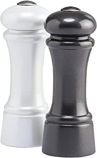 "product image for Chef Specialties Elegance- Salt and Pepper Shaker Set, 6"", Metallic Gunmetal and Metallic Pearl"