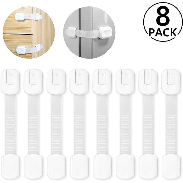 Cerraduras de Seguridad para Ni/ños Yosemy 8 Pieza Ajustables Bloqueo de Seguridad Cierres para Armarios Cocinas Puertas y Ventanas Nevera Extra Fuerte 3M Adhesivo Sistema de Doble Cerradura Blanco