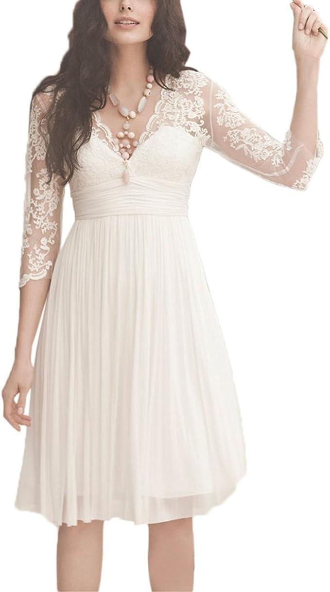 YASIOU Hochzeitskleid Kurz Elegant Damen Weiß A Linie Tüll Spitze Knielang  20/20 arm Brautkleider mit ärmel