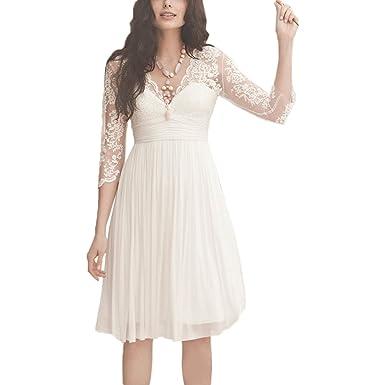 yasiou hochzeitskleid kurz elegant damen weiss a linie tull spitze knielang 3 4 arm brautkleider mit armel amazon de bekleidung