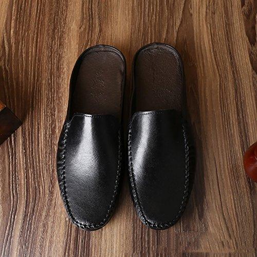 cuero caballero Tamaño hombre verano cuero Color Zapato de de blanco Zapatos de cuero 38 Zapato Blanco de de de superior suave ZJM Zapatos Negro Sandalia BqwUIp