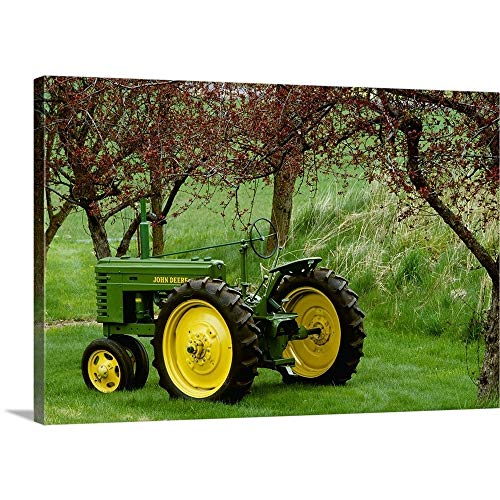 Restored 1940 John Deere Model Tractor Canvas Wall Art Print, 36