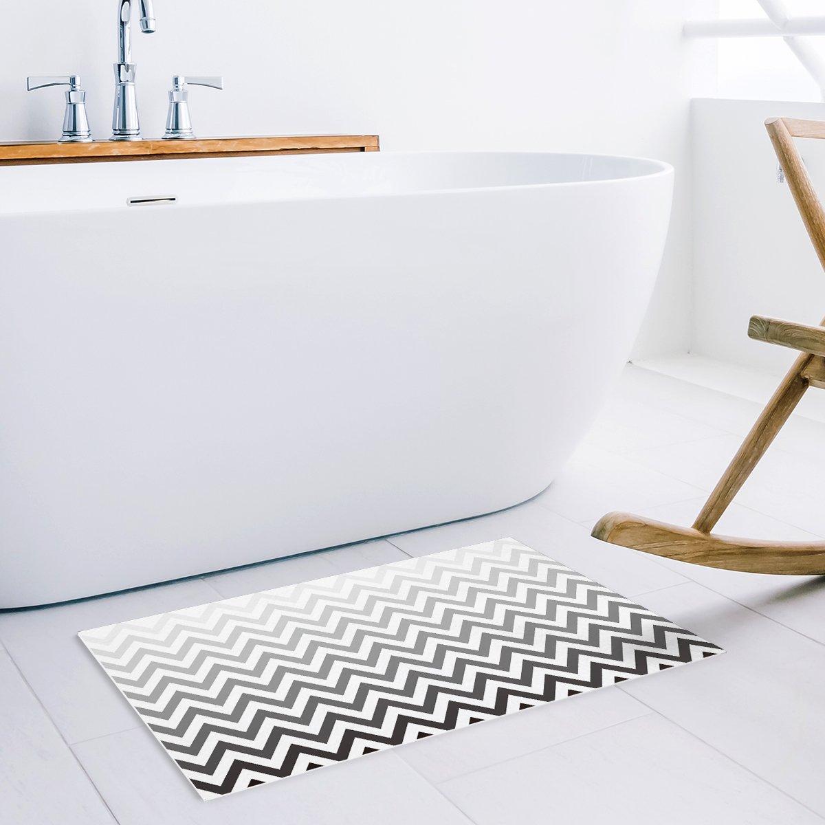 Doormat Kitchen Floor Bath Entrance Rugs Absorbent Indoor Bathroom Decor Door Mats Rubber Non Slip 32 x 20 Inch Modern Herringbone Geometric White and Gold