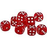 【ノーブランド品】 10個セット TRPGゲーム アクリル おもちゃ 六面ダイス D6 ダイス サイコロ 全10色 - 赤