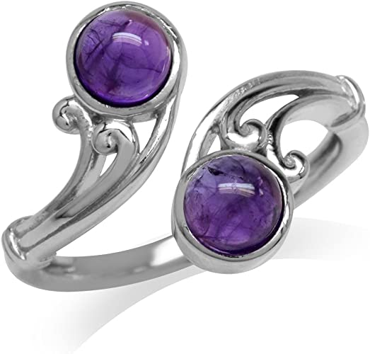 Cabochon Amethyst Beads Ball Stud Earring 925 Sterling Silver