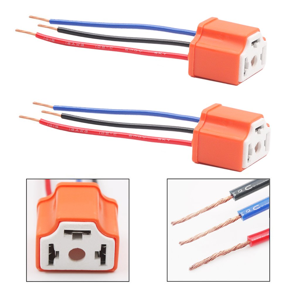 Belt&Road H4 Wiring Harness Plug 9003 Wire Connector Female Pigtail Heavy Duty Ceramic Socket 14AWG HB2 Adapter Tool for H4 Led Headlight Car Truck Boat Marine Fog Light Retrofit (Pack of 2) BeltandRoad