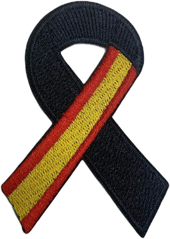 Parche Termoadhesivo Lazo Negro Bandera de España 7x5cm: Amazon.es ...