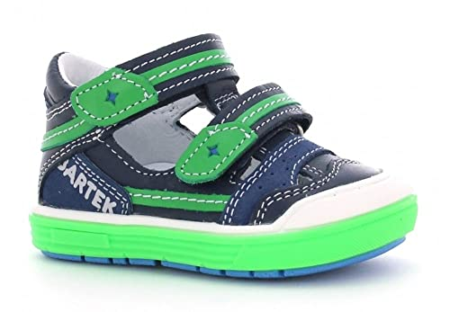 Bartek Boys Leather T-Strap Shoes Closed Toe Sandals 81885/X81 Ocean Green (