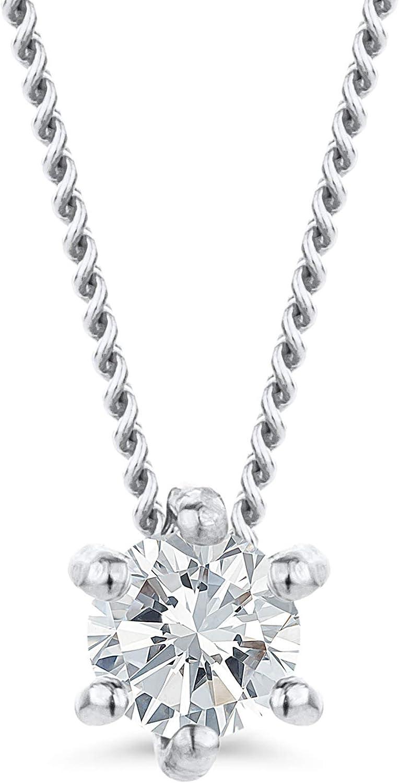 Orovi - Cadena de diamante para mujer de oro blanco, collar con colgante de diamante solitario de 9 quilates (375) y diamantes brillantes de 0,12 ct, 45 cm de largo, hecha a mano en Italia