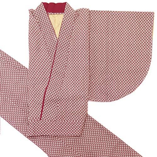 二部式着物 洗える着物 袷 単品 小紋柄の着物 Mサイズ「エンジ 麻の葉」HANM1808