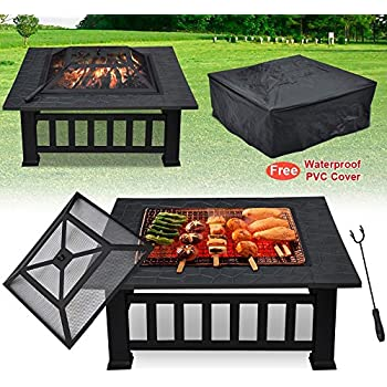 World Pride 32Inch Metal Firepit Backyard Patio Garden Square Stove Fire Pit With Cover