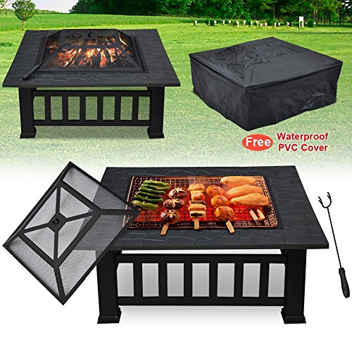 Yaheetech Metal Firepit Outdoor Patio Garden Square Stove Fire Pit Metal Brazier Patio with Cover (Wood Burning Stove Outdoor Patio)