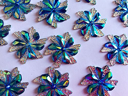 Pukido 30pcs 30mm Blue/AB Colour sew on Rhinestones Resin Gemstone Hang Sewing Strass Crystal Flower Shape Flatback