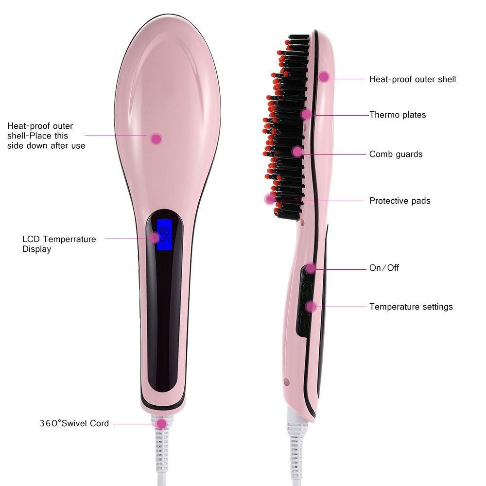 Anself - Cepillo de Cabello Eléctrico para Enderezar Pelo (LCD Pantalla): Amazon.es: Salud y cuidado personal
