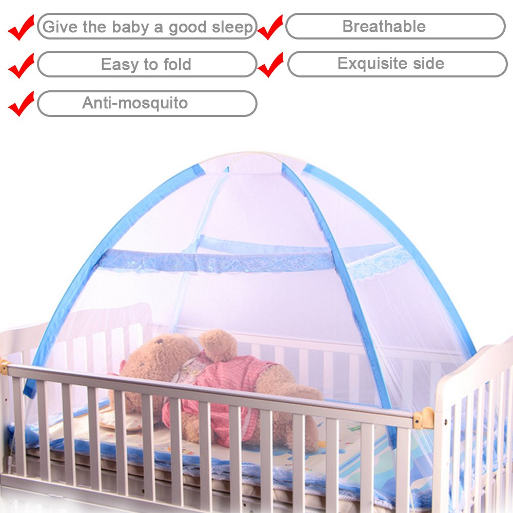 Kids Baby Infant Nursery Bed Crib Canopy Mosquito Net Netting Play Tent House Blue coffled iek040019002mayeight