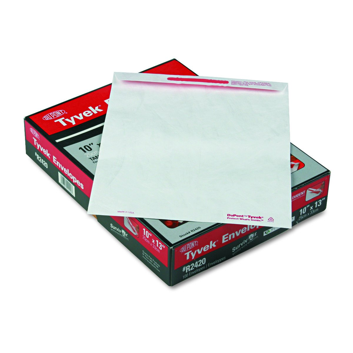 Quality Park R2420 Advantage Flap Stik Tyvek Mailer, 10 x 13, White (Box of 100)