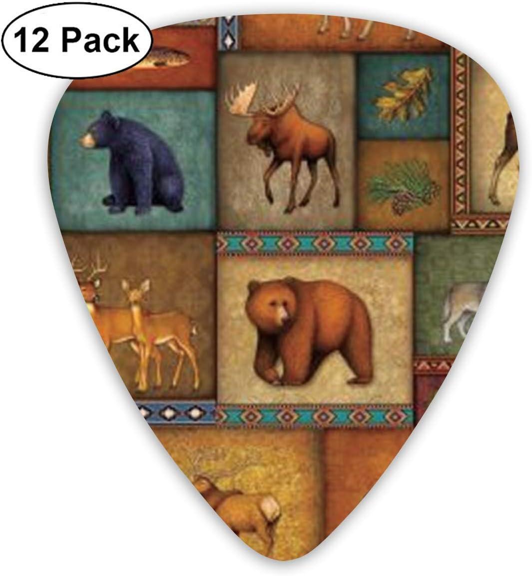 guitare vocale originale Guitares /électriques mandoline et basse TUIU Rustic Wildlife Bear Deer Moose Wolf 12-Pack Guitare classique M/édiators