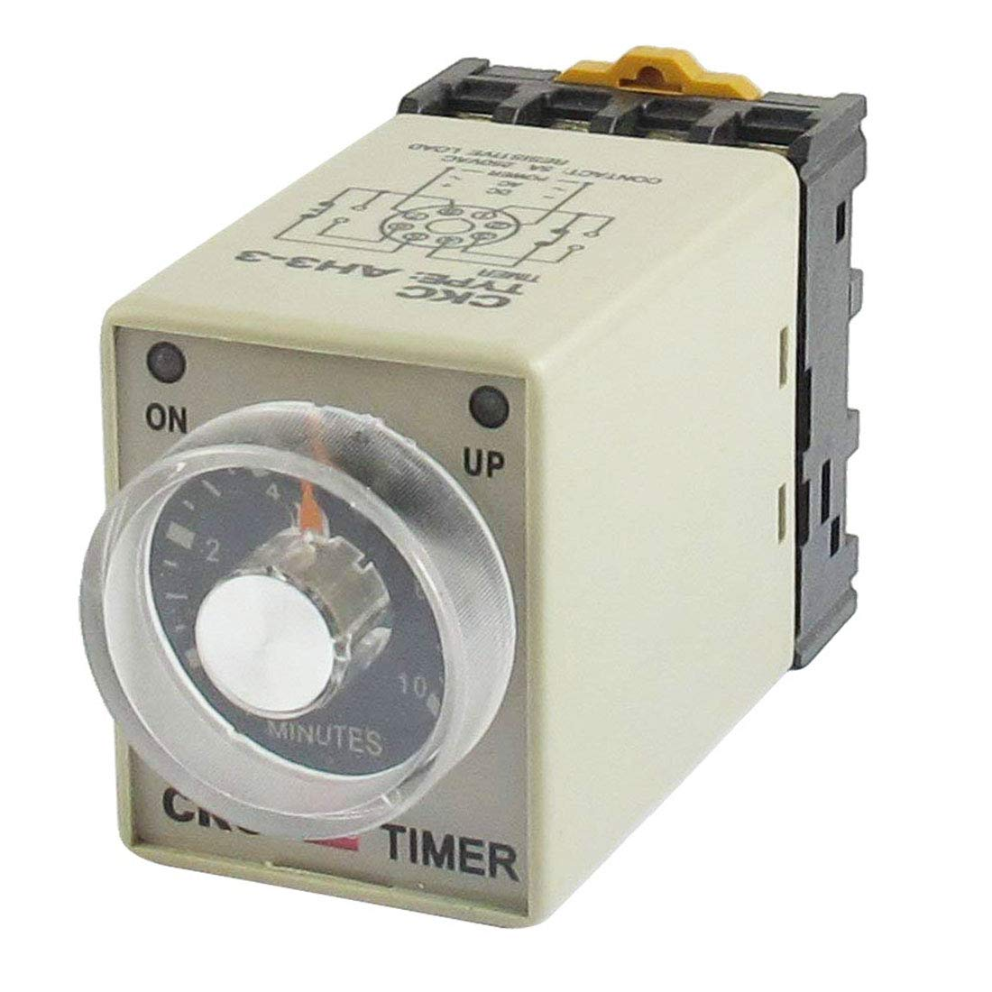 Aodesy AH3-3 Adjustable Time Relay Base Resistive Load Delay Timer Relay Time Range 0-60 Minutes